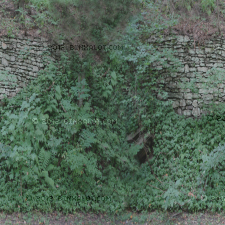 Hill with stone wall and a vegetation.  Used on a 60 degree angle hill gives the illusion of dense vegetation in tps games.