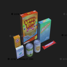 This is a model pack that contains boxes of common groceries found in a super market or corner store.  The items included are a box of cereal, baking soda, cough drops, candy bar, detergent, two cans, one of green beans and yellow corn. The image maps included are 512x512 and 512x256 for the cereal. Models are UV mapped.