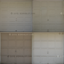 Four garage door textures with some wear and in different styles.